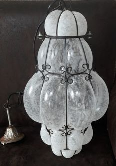 Large Venetian lamp - Frosted glass with metal - Italy - Second half of the 20th century