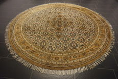 Round oriental carpet, Indo Bijar Herati, 247 x 247 cm. Made in India at the end of the last century. Tappeto, Tapis, Rug, Runner, Gallery, Runner, Tapijt, Carpet