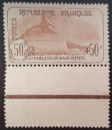 France 1917-1918 – 1st Orphan Series, 50 c.+50 c. brown and light brown, signed by Calves with digital certificate – Yvert No. 153