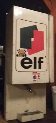 Vintage ELF motor oil - oil barrel with tap (bar) - wall mounting - circa 1970/1980