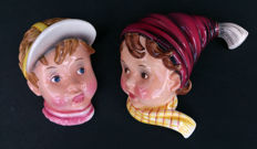Goldscheider Wilhelm Thomasch  - Two Porcelain hand painted wall masks