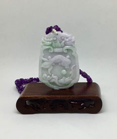 Vintage original hand carved Jadeite pendant in green and lavender colour