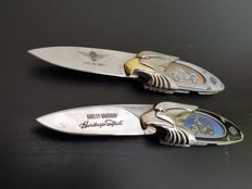 Franklin Mint - Two Official Harley Davidson Collector's Knives - Heritage Softail & 1990 Fatboy - Limited Edition