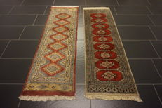 Two hand-knotted Persian carpets, Pakistan Bukhara set, 160 x 50 cm, 150 x 50 cm, made in Pakistan, rug, oriental