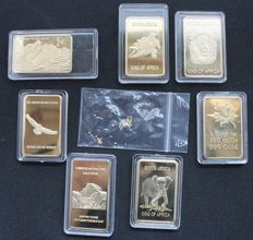 50 gold nuggets from Alaska - gold - and 7 gold-plated bars