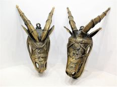 Two magnificent bronze African masks