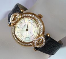 Bucherer ladies' watch 'Paradiso' 18 kt gold with crocodile leather strap and approx. 1.2 ct of brilliant-cut diamonds