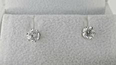 0.94 ct round diamond stud earrings 14 kt gold *** NO RESERVE PRICE ***
