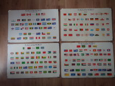 Four beautiful school posters with all countries flags of the world