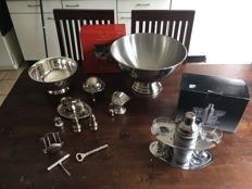 Various kitchen stuff silver plated / chrome / glass