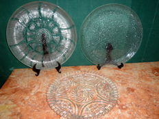 Three Large Cut Glass Tart Dishes