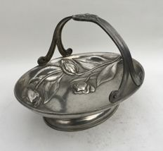 Art Nouveau style oval shaped pewter basket with tulips