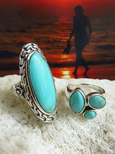 New York 2 solid 925 silver rings with turquoise cabochons – Ring size 16.5 & 17 or 18