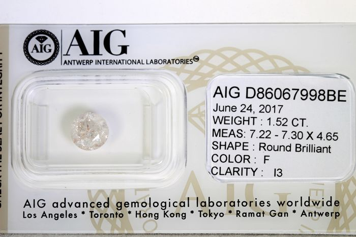 Diamond – 1.52 ct – F, I3 – No Reserve Price