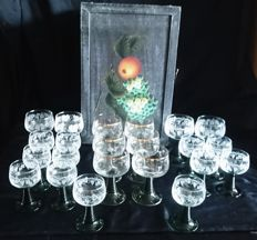 22 Engraved/Polished wine glasses with wooden box