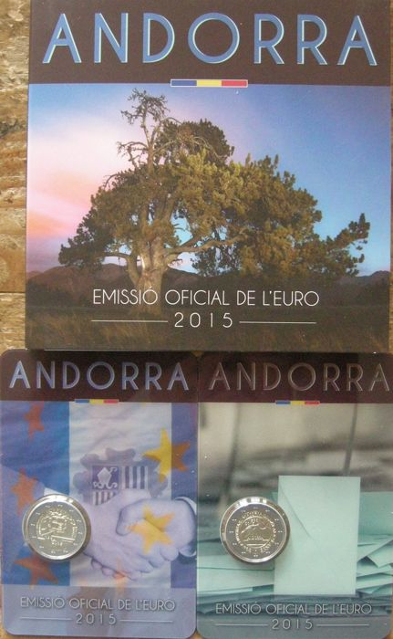 "Andorra – Year pack 2015 with 1 Cent through 2 Euro + 2 Euro coin 2015 ""Customs"" and 2 Euro coin 2015 ""Political Rights"""