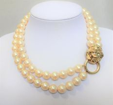 Signed Kenneth Jay Lane for Avon 'Society Collection' – 2-Strand faux pearl necklace