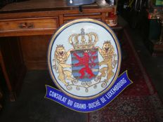 Large enamelled sign for the Consulate of the Grand Duchy of Luxembourg