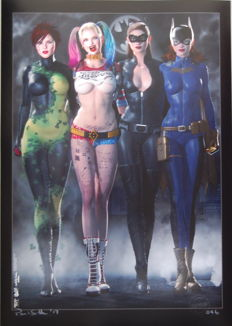 Art print; Paul Sutton - Gotham Girls EVOLUTION - Poison Ivy - Harley Quinn - Catwoman - Batgirl- 2017