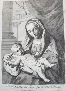 Print Madonna con Bambino -  From Venice area - late 16th century