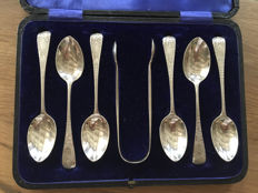 Six large silver coffee spoons with sugar cube tongs, England, London, 1889