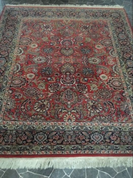 Hand-knotted Persian carpet, Kashan, 241 cm x 208 cm, Period 1980s.
