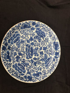 Blue and white porcelain platter - marked - China - 18th century