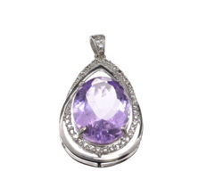 One Amethyst and White Sapphire Pendant, 4.90 grams