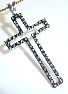 Cross pendant made of black 14 kt / 585 gold – set all the way round with approx. 0.56 ct of diamonds