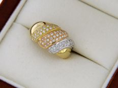 Three-gold 18 ct ring with diamonds - Ring size: 56.