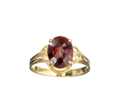 Almandite Garnet Ring in 14kt yellow - diameter 1,6cm