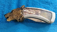 Franklin mint hunting knife, collector's knife wolf
