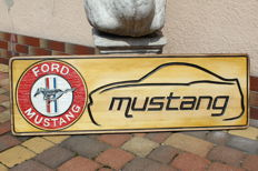 FORD MUSTANG - Unique Big Logo carved in wood - 101 x 33 cm