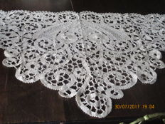 Large drapery trim made from Bruges lace, completely handmade.