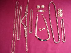 7 Gold plated 'Monet' necklaces, 3 pairs of earrings and a brooch