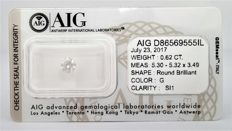 Round Brilliant - 0.62 carat -  G color -SI1 clarity - AIG -  SEALD certificate -  - 3 x  VG , None .
