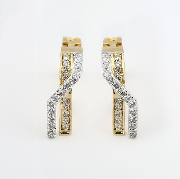 IGI Certified Yellow Gold 0.49 ct. Diamond Hoop Earrings