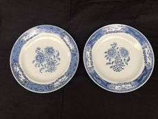 Pair of blue-white, porcelain plates - China - 18th century