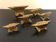 Six copper jewellers silversmith anvils, the Netherlands, first half of 20th century