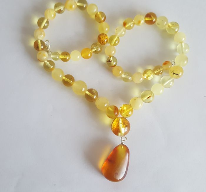 Authentic natural Baltic Amber necklace with pendant yellow multi colour, 39grams - Length 52cm
