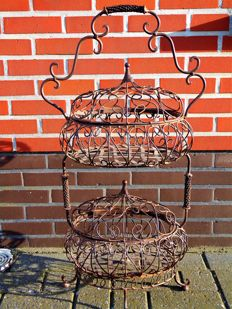 Rare braided wrought iron kitchen item with two hive baskets plus lids