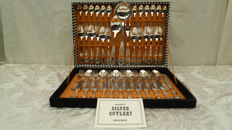 Silver plated cutlery for 12 people in a box