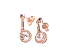 One pair of 14k Morganite, Pink Tourmaline, and diamond 0,07ct earrings ***No Reseve Price***