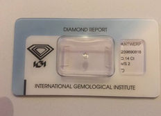 Diamond 0,14 ct – Pear Brillant cut, D, VS2