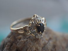 14k Gold Ring with 12 Diamonds and Blue Sapphire - size 16.5