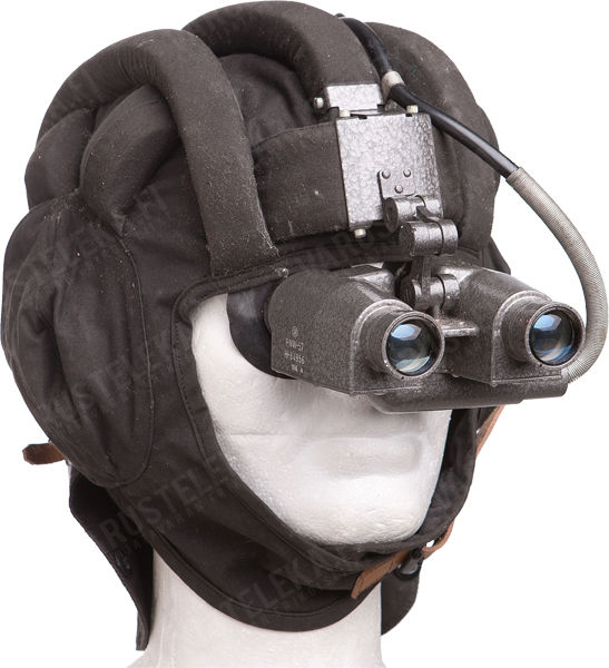 Tank helmet with infra-red night vision goggles