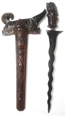 A special old, (LUK 13), unique Indonesian Balinese Kris/Keris,