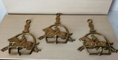 Large brass pendants with Racehorses