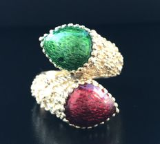 """Enamelled ring """"You and Me"""" model in 18 kt yellow gold - size 54"""