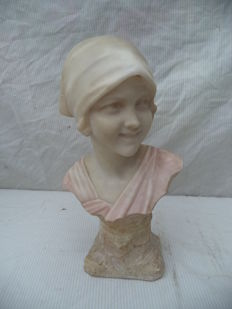 A marble bust of a young woman - not clearly signed - presumably Italy - circa 1880